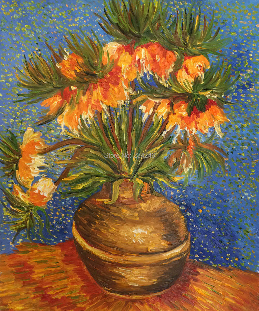 Handpainted Canvas Painting Crown Imperial Fritillaries in a Copper Vase Van Gogh Floral Oil Painting Wall Decoration