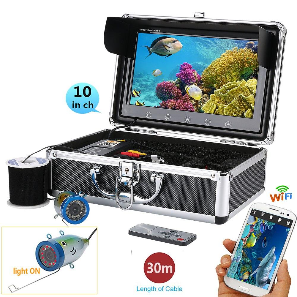 Gamwater 10 720 p 30 m 1000tvl subacuática Pesca kit cámara de vídeo, HD WiFi inalámbrico para iOS Android App soporta grabar vídeo