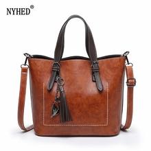 NYHED bolso de hombro de las mujeres bolso de cuero de moda Vintage bolso de mensajero femenino glamoroso bolso bandolera Retro