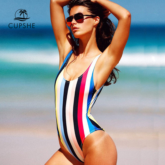 984e4caa09 CUPSHE Colorful Striped Backless One-piece Swimsuit Women Summer Sexy Backless  Swimsuit 2018 Girl Beach Bathing Suit swimwear