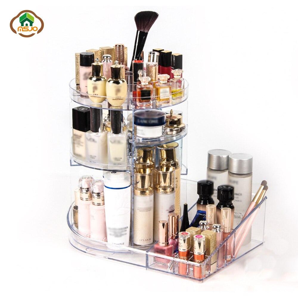 Msjo boîte d'organisateurs de maquillage 360 degrés organisateur de Rotation pour les cosmétiques détachable beauté brosse titulaire bijoux boîte de rangement