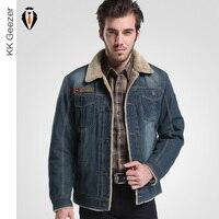 New Men Winter Jackets Top Quality Brand 2016 Retro Denim Jackets Jeans Coats Parka Wool Inner