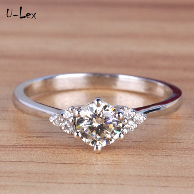 U-lex Brand 1ct rings love for women jewelery engagement ring 925 sterling silver rings valentine's day gift bague femme R282