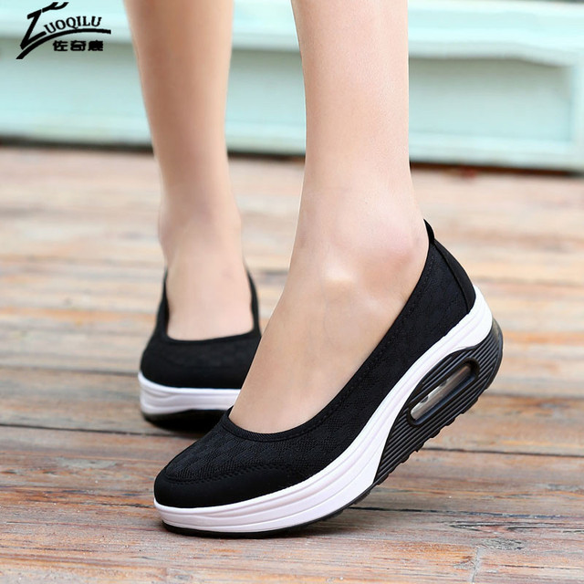 2017 Women Casual Shoes Mesh Breathable Platform Shoes Woman Creepers Female Flats Slimming Shoes Mujer Big Size 41