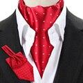 LJ04 Rojo Púrpura Negro del punto de Polca de La Vendimia de Los Hombres Corbata Formal de Ascot Tie Gentleman Auto Atado de Poliéster de Seda Bufandas Bufanda de Cuello empate