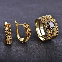 MECHOSEN Bridal Wedding Jewelry Sets Stud Earrings Rings CZ Zirconia Copper Brincos Anillo Mujer Gold Color