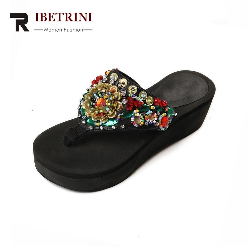 RIBETRINI Neue Marke Design Wedges Ethnischen Stil Flip Flops String - Damenschuhe