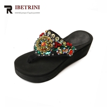 RIBETRINI New Brand Design Wedges Ethnic Style Flip Flops String Bead Bling Shoes Woman Casual Summer Slippers Big Size 34-40