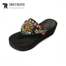 RIBETRINI Új márka Design Ékek Etnikai stílusú flip flops String gyöngy Bling cipő Női Casual nyári papucs Big Size 34-40