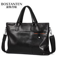 Bostanten Genuine Leather OL Men S Handbag Large Capacity Fashion Briefcase Cow Leather Classic Bussiness Laptop