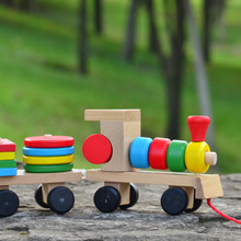 Free shipping, childrens educational toys,but the train drag toys,large three trains,remove assembly building blocks