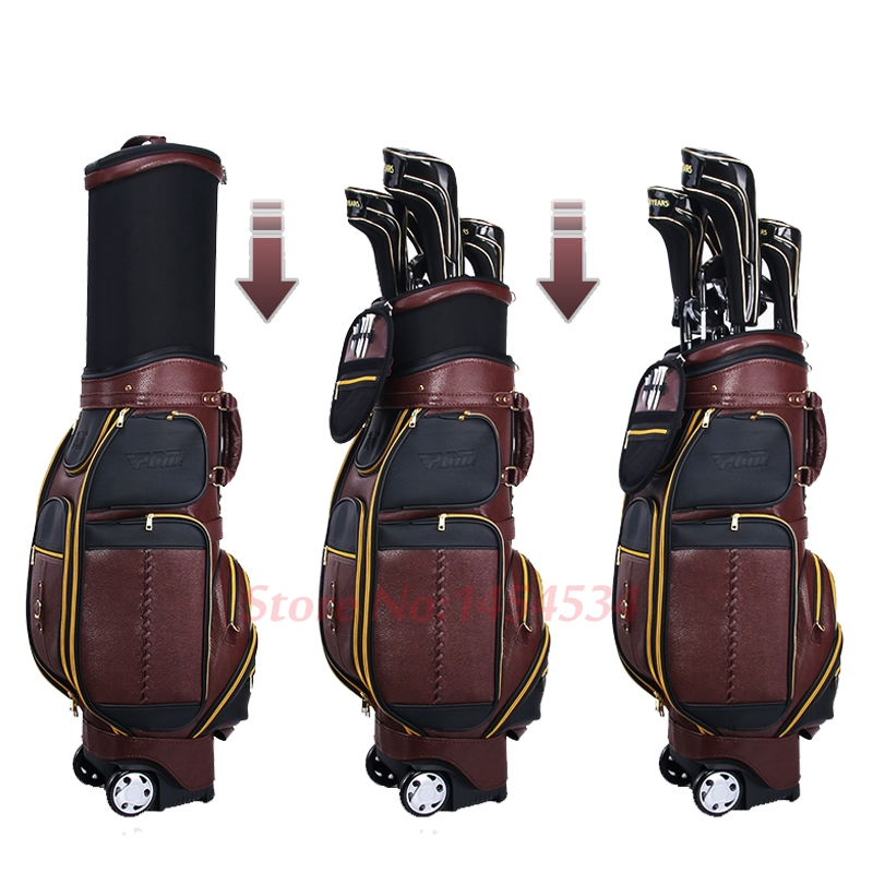 Full Leather! Adjustable Golf Standard Ball Bag Wheels Men Stretch Bag Multi-Function Airbag Leather Waterproof With Cover 125cm high quality new driver side airbag cover for glk w204 glk300 glk350 airbag cover dab cover with logo