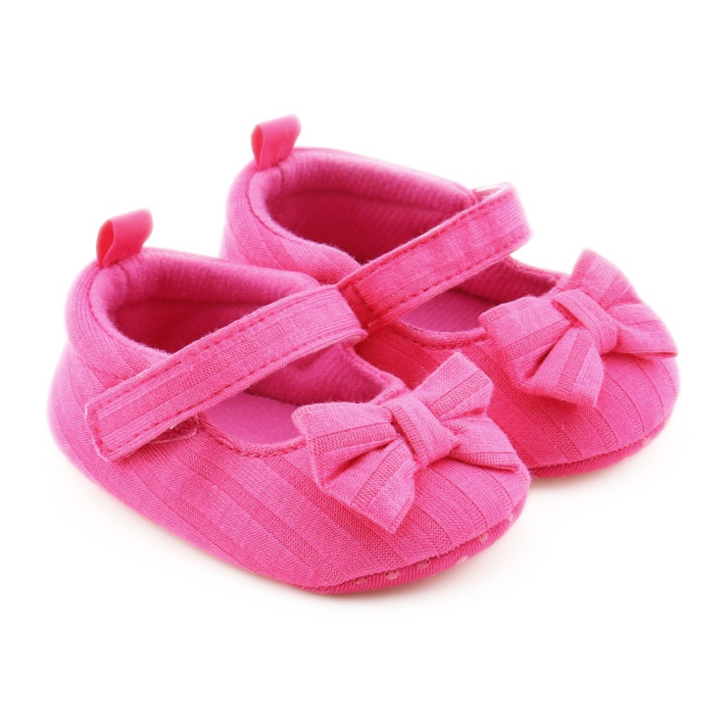 Spring and Autumn newborn baby girl non – slip soft footwear cotton material bowknot warm step shoes 0-12M