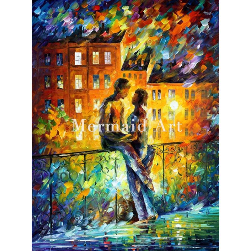 Hand Painted Silhouettes Lovers Landscape Abstract Palette font b Knife b font Modern Oil Painting Canvas