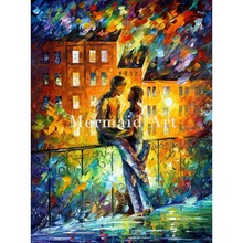 Hand Painted Silhouettes Lovers Landscape Abstract Palette Knife Modern Oil Painting Canvas Wall Living Room Artwork Fine Art