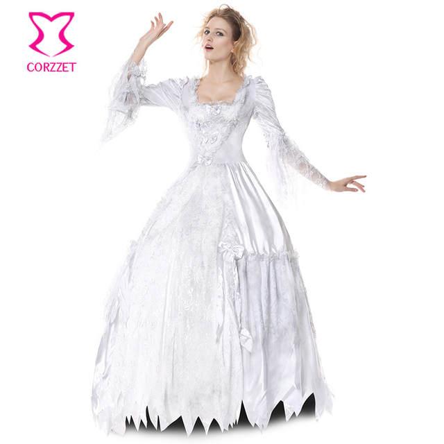 04f8ab8eb Vitoriano Gótico Zombie Fantasma Noiva Fantasia Vestido Branco Lolita  Cosplay Vampiro Cadáver Condessa Sensuais Trajes de