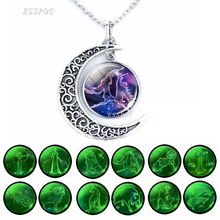 Glow In The Dark 12 Constellation Crescent Moon Necklace Zodiac Signs Charm Necklace Women Fashion Birthday Gift 12 zodiac signs glass cabochon crescent moon necklace zodiac jewelry women friendship birthday valentines gift