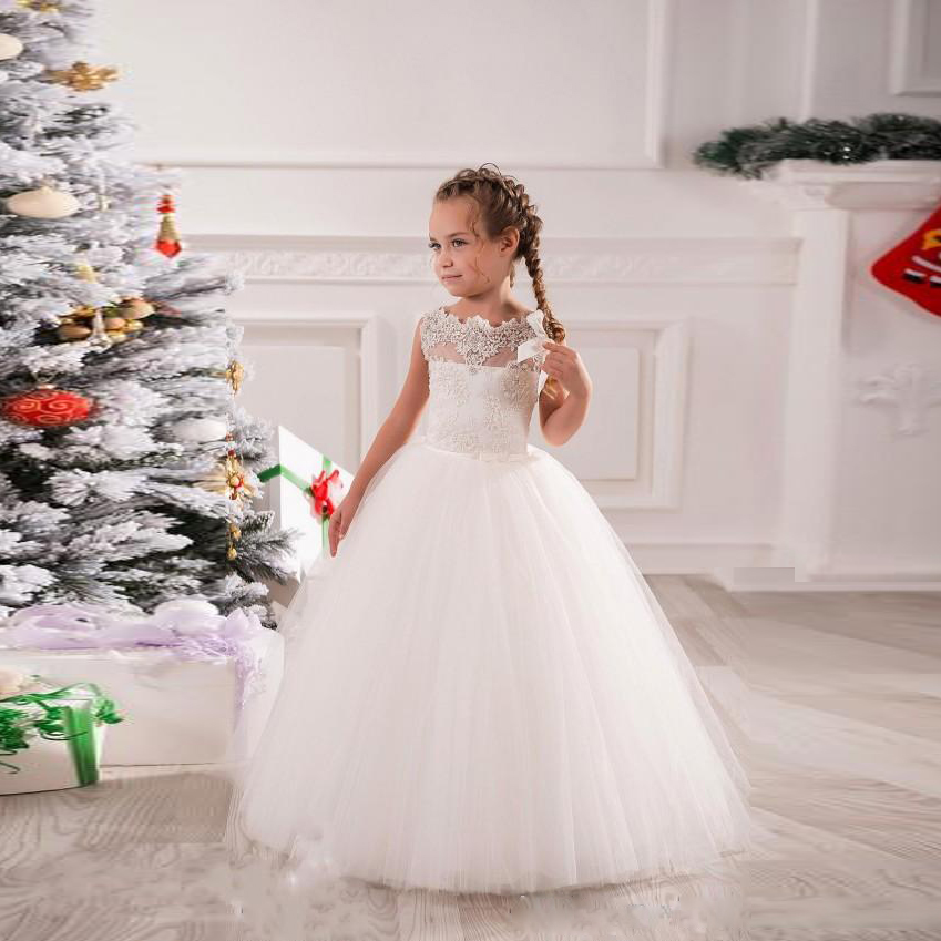 Beauty Emily Lace White Flower Girl Dresses 2019 Appliques Sleeveless Long Neck Girls Pageant Dress For Weddings Casamento in Flower Girl Dresses from Weddings Events