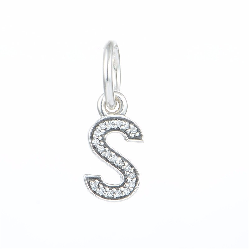 fits diy pandora charms bracelets letter s sterling silver beads with cz stones women silver charm