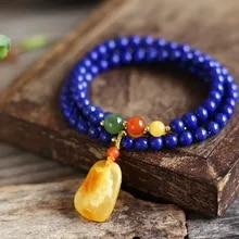 """NOUVEAU 10 mm naturel égyptien Lapis Lazuli Gemme Collier Pendentif 18/"""" AAA"""