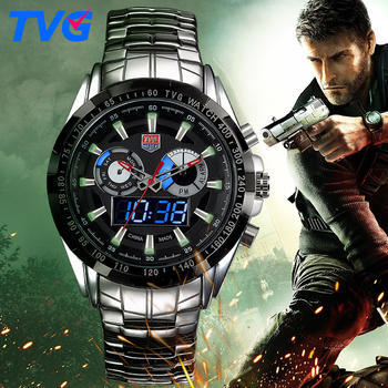 TVG Mens Dual Display LED FASHION WATCHES Stainless steel Waterproof Male Quartz