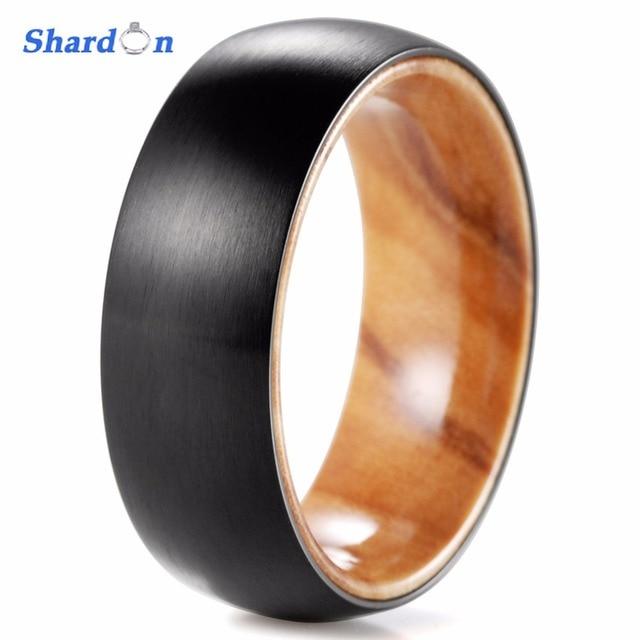 SHARDON 8mm Black Titanium Inner wood Ring with Matte Finishing Mens