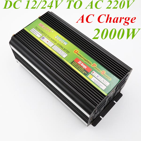 цена на 2000W Modified Sine Wave Inverter 12V 24V to AC 220V Peak Power 4000W Battery Charge UPS CE Certification