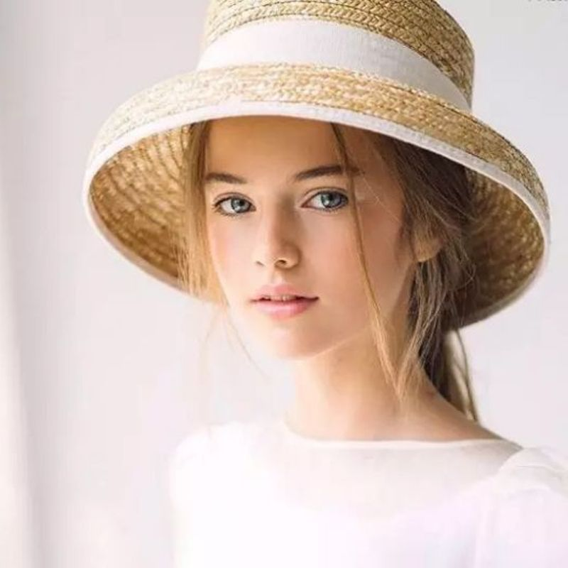 01901-axi 2019 New SummerHepburn Style  Grace Bowknot Lady Handmade Straw Bucket Cap Women Leisure Paper Hat