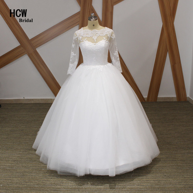 Us 156 0 20 Off Elegant Ball Gown Wedding Dress With Long Sleeve 2019 White Tulle Floor Length Simple Bridal Dresses African Wedding Gowns Cheap In