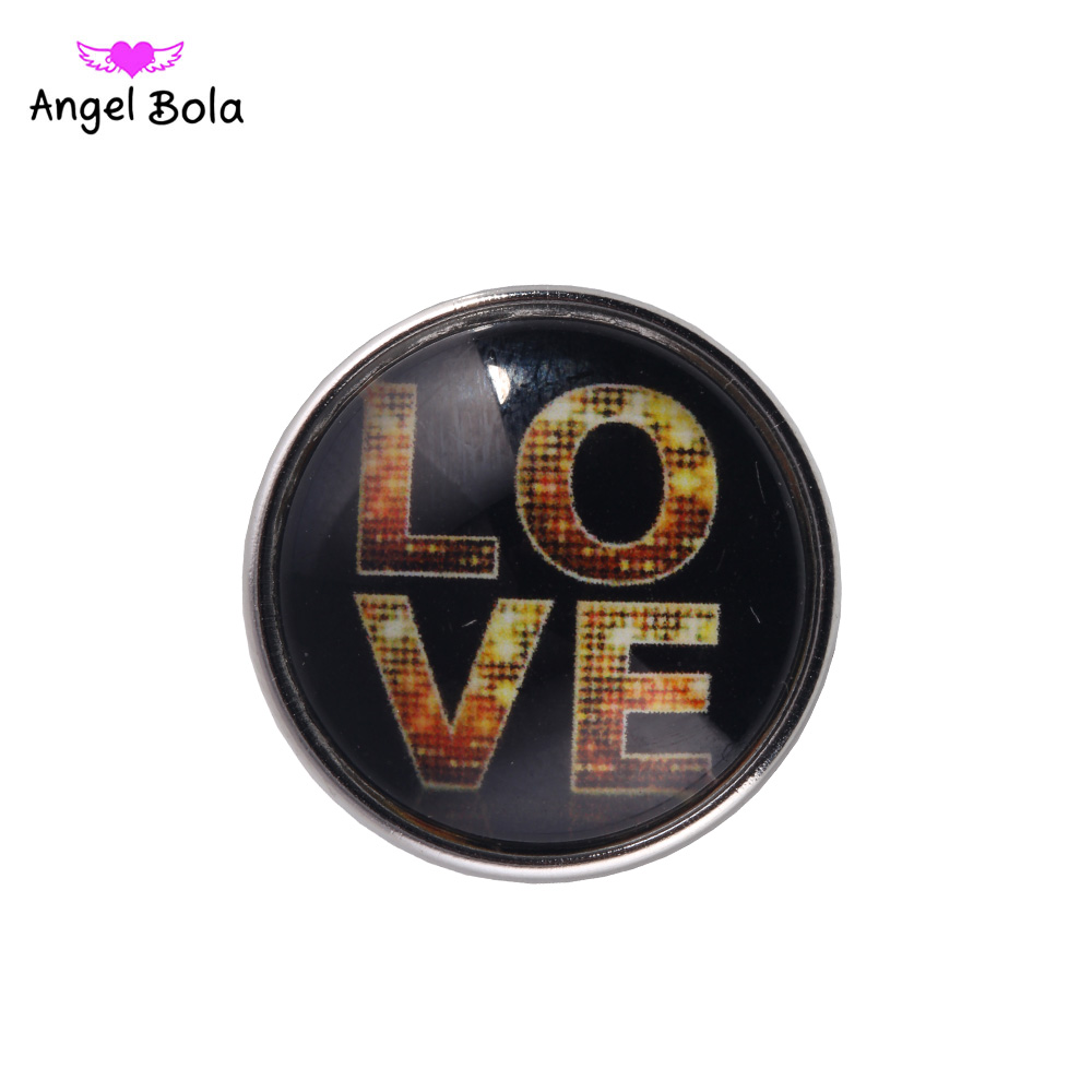 12PCS/LOT Beautiful Love Snap Button 18MM Round Glass Ginger Snap Jewelry Valentines Day Snap Charm Fit Snap Bracelet NS002-121