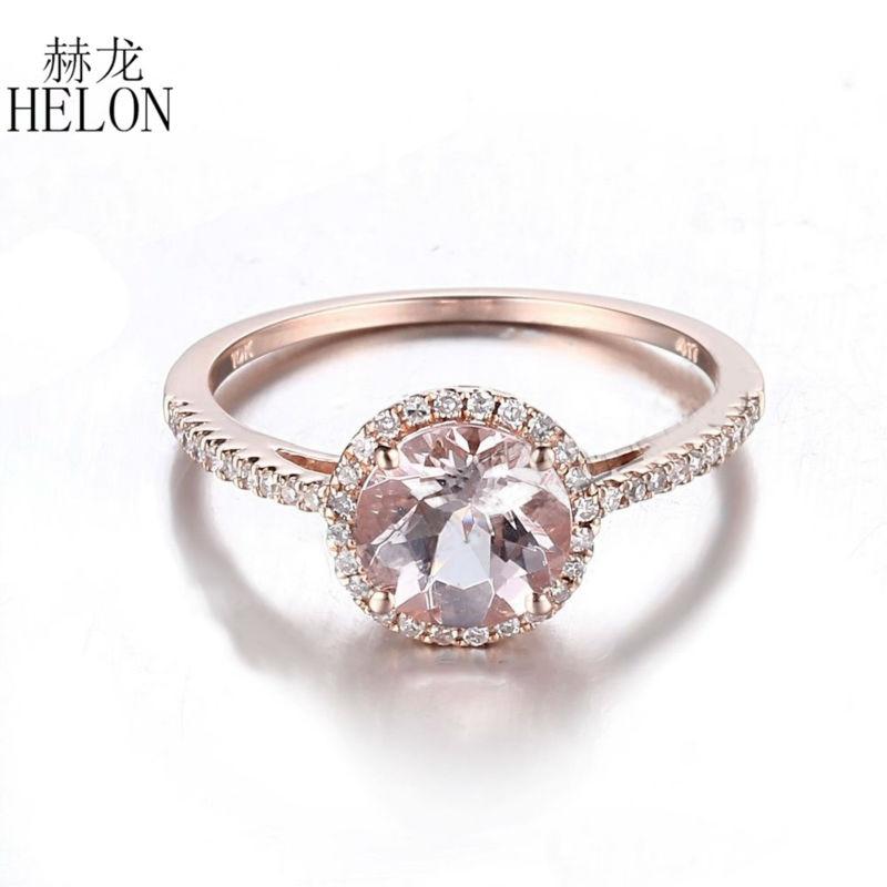 HELON solide 14 K or Rose 7mm taille ronde 1.17ct Morganite Halo diamants fiançailles panier bague anniversaire bandes bijoux pour femmes