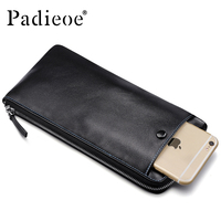 Padieoe Men S Fashion Zipper Purse Genuine Leather Long Wallet Desinger Phone Card Holder Male Luxury