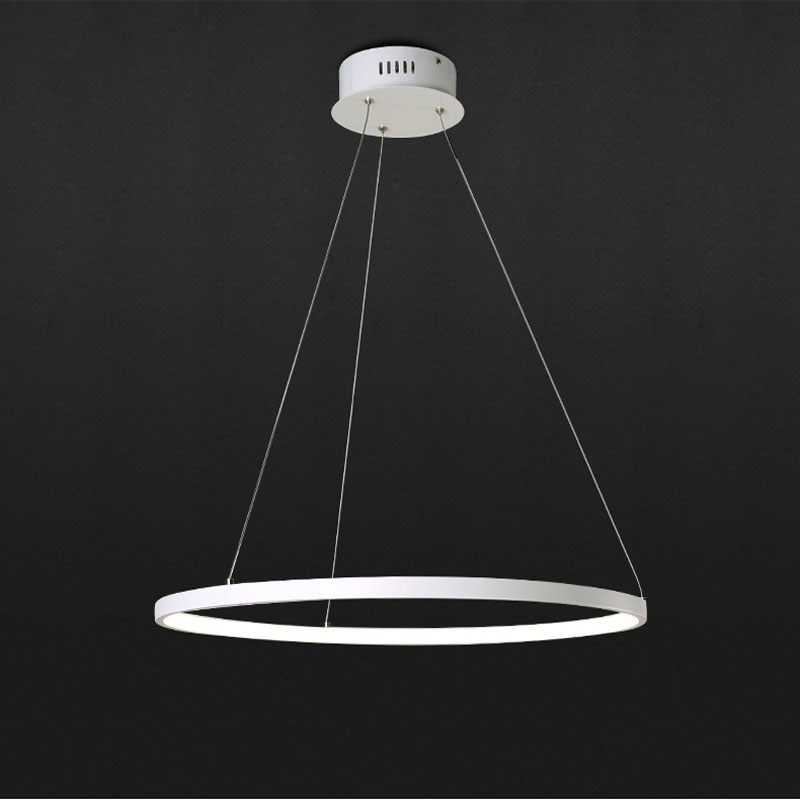 Led living room chandelier creative modern minimalist personality aluminum circle circle circular bedroom dining room lights modern fashion simple circular wooden handle aluminum lid chandelier made of iron painting diameter 50cm ac110 240v