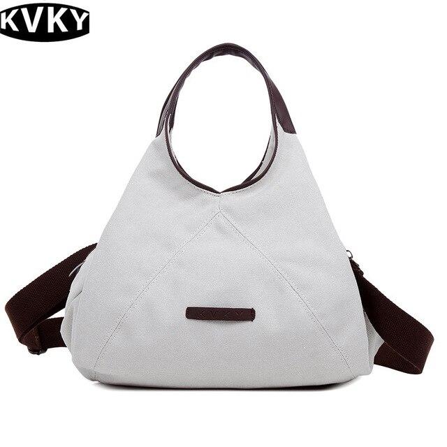 1831f077f902 KVKY 2017 New Retro Canvas Handbag Women Shoulder Bag Fashion Casual bags  Designer High Quality Large