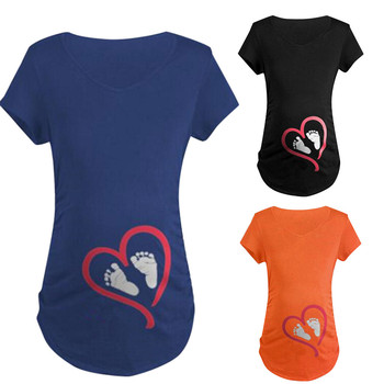 Maternity Clothes Summer Short Sleeve T Shirt Blouse Footprint Funny Ladies Pregnancy 1