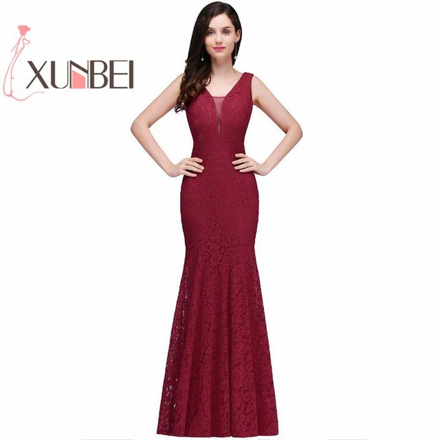 Robe de fille d honneur Cheap Burgundy Mermaid Lace Bridesmaid Dresses 2019  Sexy Back Long Prom Dress Party Gowns Under  50 41dc5f1cdd8a