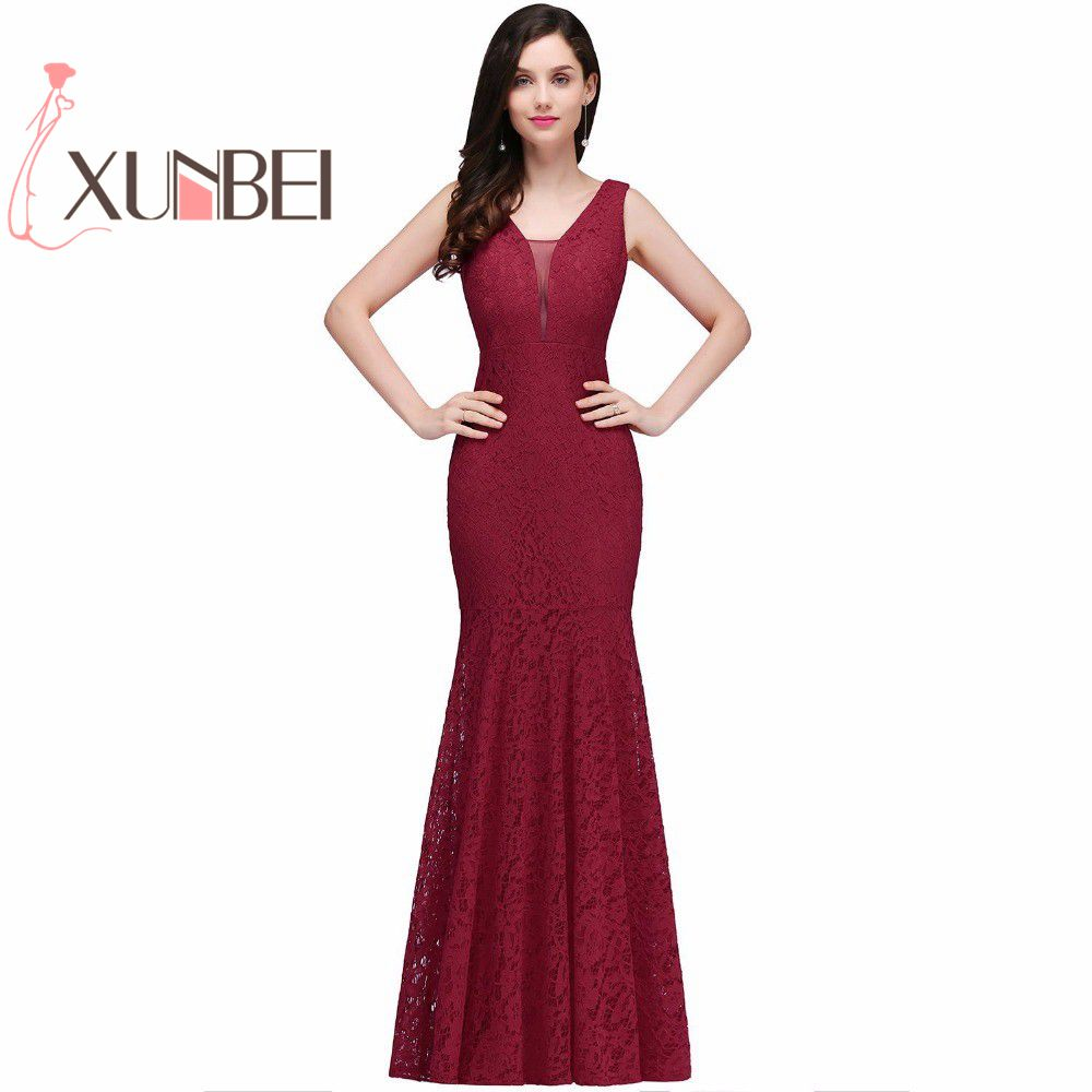 Robe de fille d'honneur Cheap Burgundy Mermaid Lace   Bridesmaid     Dresses   2019 Sexy Back Long Prom   Dress   Party Gowns Under $50