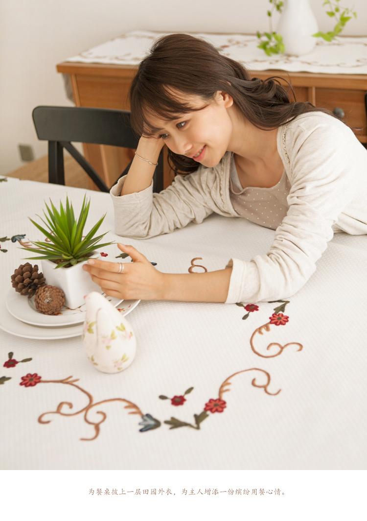 Tablecloth cloth linen coffee table embroidery small fresh table pad cover cloth garden table cloth