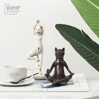 Yaratıcı reçine Yoga kedi heykelcik vintage şanslı kedi heykeli ev dekor el sanatları odası dekorasyon nesneler reçine hayvan Spor heykelcik|Statü ve Heykelleri|Ev ve Bahçe -