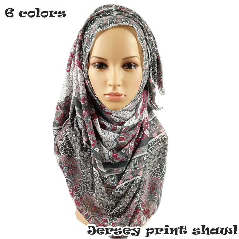 Vintage Jersey print shawl soft elastic style scarf flower pattern scarves shawls women foulard muslim headband hijabs 6 colors