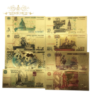 8pcs/Lot Color Russia Banknotes 5 10 50 100 500 1000 5000 Rubles Banknote in 24K Plated Fake Paper Money For Collection And Gift