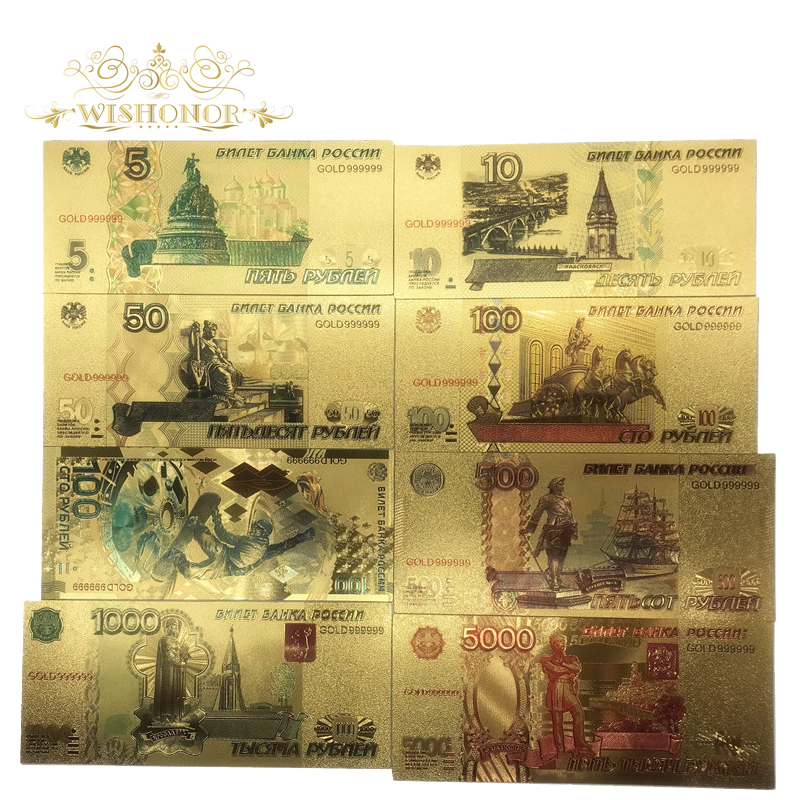 8pcs/Lot Color Russia Banknotes 5 <font><b>10</b></font> 50 100 500 <font><b>1000</b></font> 5000 Rubles Banknote in 24K Plated Fake Paper Money For Collection And Gift image