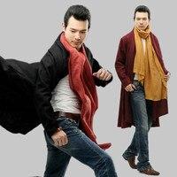 Herfst zuiver linnen China Stijl mannen windjack losse vest Kleding folk stijl reizen Trenchcoat Zwart Rood Marineblauw Outfit