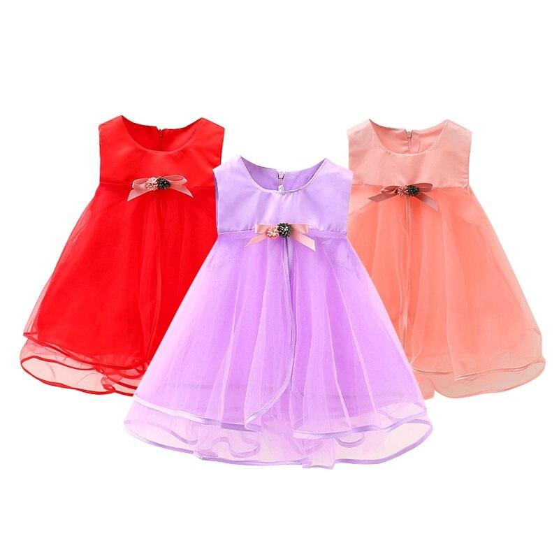Summer Lovely Girls Lace Dress Kids Pink Red Party Dress Children Costume Solid Color Infant Princess Dresses 05 lovely pink
