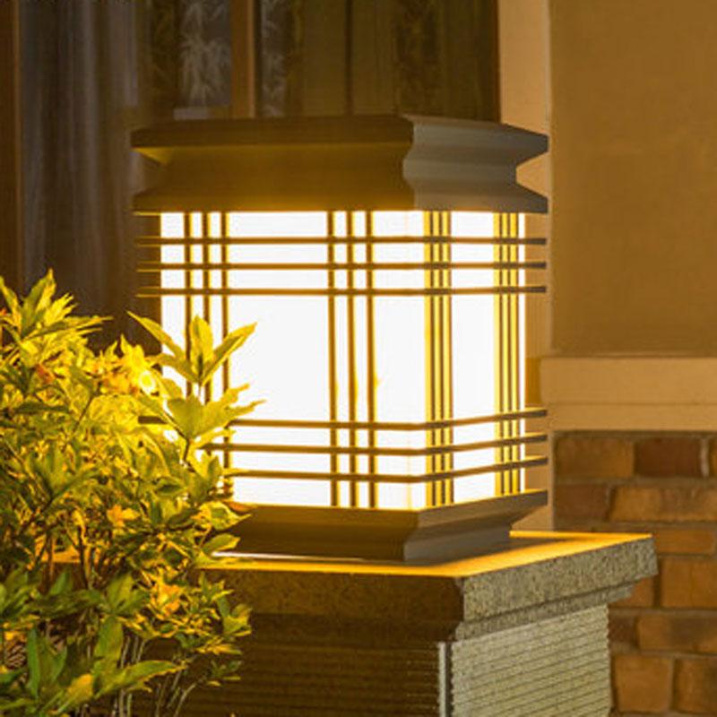 vandtæt udendørs gazabo søjle lampe, villa gårdhave hegn chapiter udendørs landskab belysning