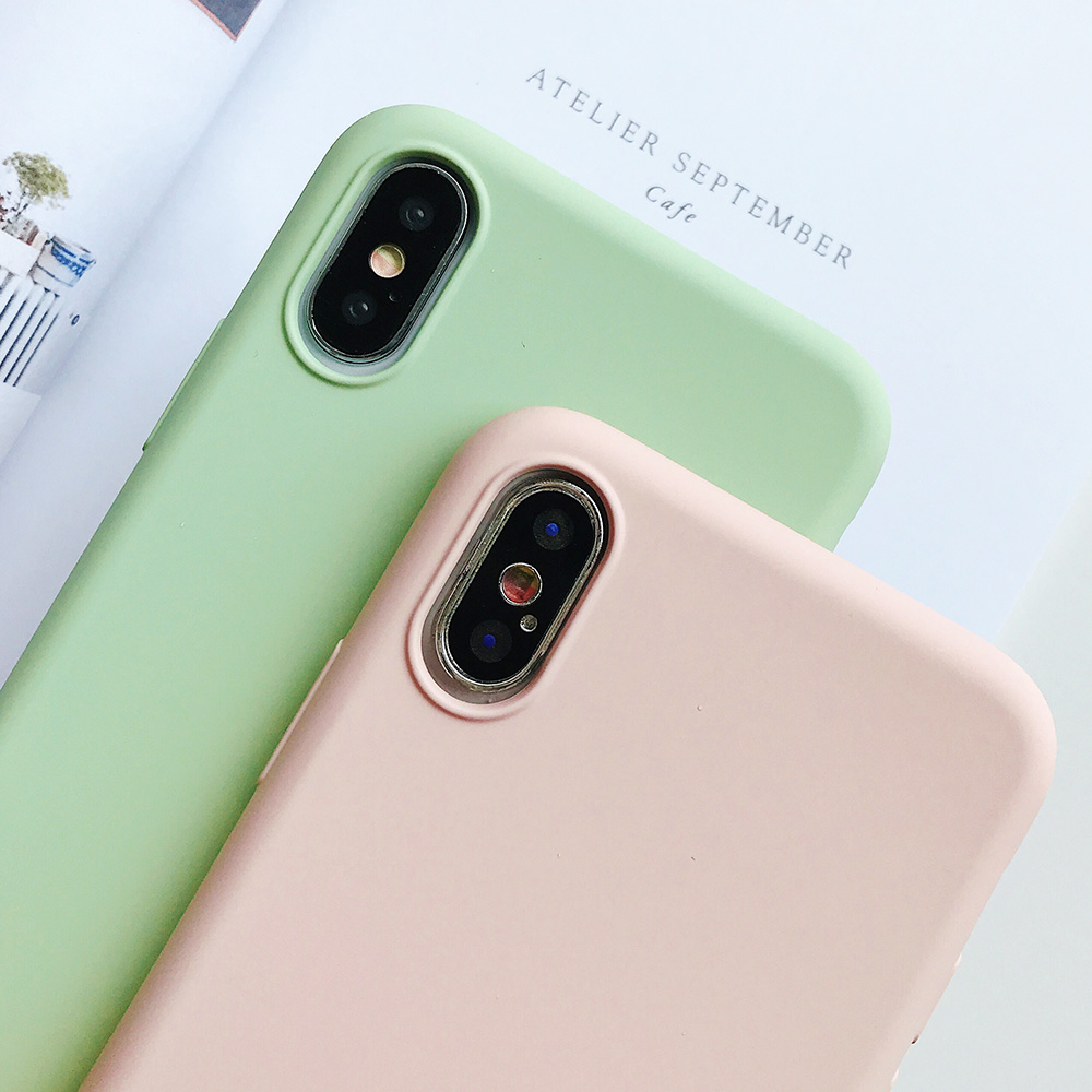 KIPX1124_4_JONSNOW Pure Color Silicone Case for iPhone XS XR XS Max 6 6S 6P 7 8 Plus Ultra-thin Matte Dirt-resistant Soft TPU Solid Cover