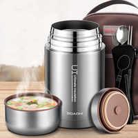BOAONI 1000 ml alimentaire pot thermique isolé sous vide soupe Thermos conteneurs 18/8 en acier inoxydable boîte à Lunch avec cuillère pliante