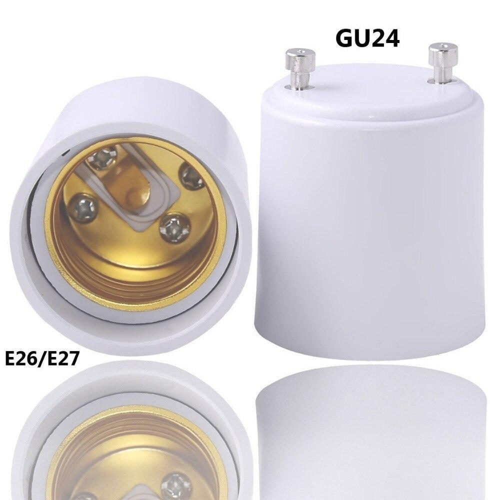 LumiParty GU24 to E27 Adapter LED Light Bulb Lamp Holder Adapter Socket Converter White GU24 to Standard Screw-in Socket