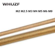 Thread Rod M2x250 M2.5*250 M3x250 M4*250 M5x250 M6x250 M8x250 length 250mm Long Brass Metric Bolt Full Shaft Bar Stud