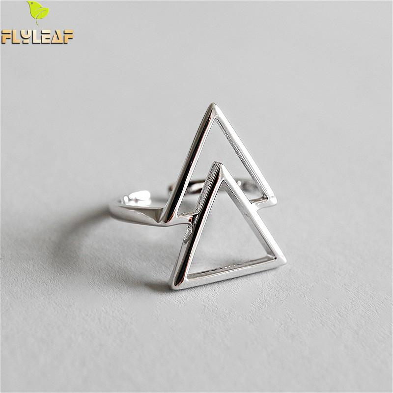 Flyleaf 925 Sterling Silver Rings For Women Simple Personality Hollow Geometric Triangle Femme Fashion Fine Jewelry Open Ring